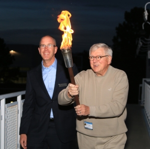 Alex Potts, Loring Ward CEO, and Jeff Berg getting ready to light the torch at the Olympic Training Center in Colorado Springs in October 2015.